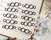 wire ring connectors - vintage 1960s soldered 4 ring chain links - earrings focals - 27mm - 10 pieces