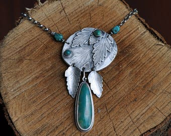 Sterling Silver Turquoise Necklace, Oxidised Leaf Necklace, Sterling Silver Gemstone Charm Necklace