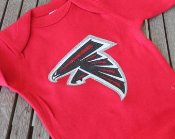 Baby Personalized ATL Football Onesie Custom Personalized Glitter Heat Pressed Baby Onsie Body T-Shirt-Red/Black/White/Gray