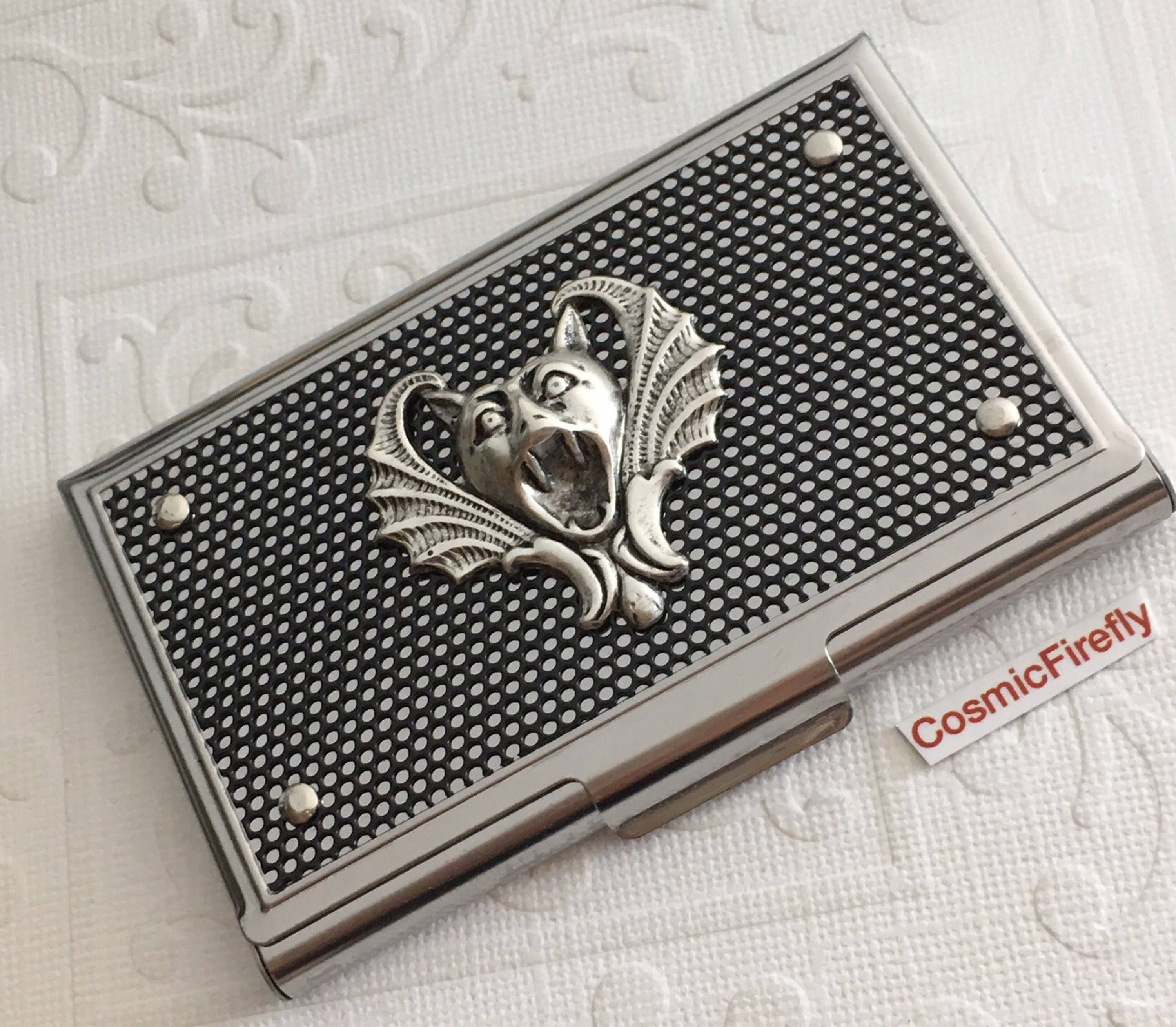 Gothic Vampire Bat Business Card Case Silver & Black Industrial ...