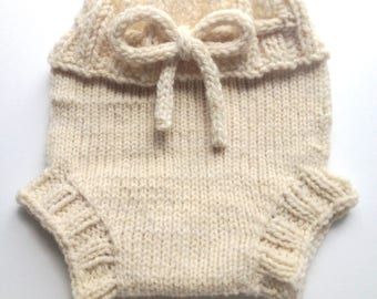 Diaper Cover  Wool - Cream Coloured Small-medium Baby Handknit Wool Soaker  with Knit Drawstring