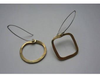 Round and square Falbala earrings