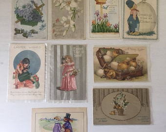 1905-1920 9pc Vintage Easter Postcards