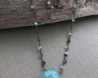 ON SALE Aqua Chalcedony and multi gemstone necklace -  Silver Plated Necklace - Carnelian, moonstone  - darkened silver - amethyst - boho je
