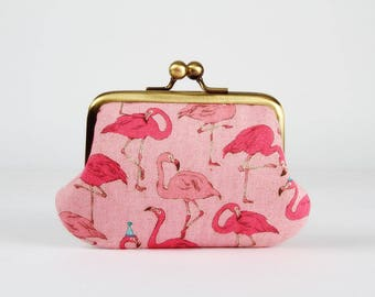 Metal frame purse with two sections - Party flamingo in pink - Siamese daddy / Japanese fabric / Two pockets / mint green / tropical birds