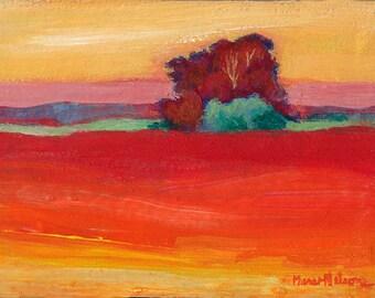 Contemporary Landscape, Original Painting, Modern Art, Crimson Landscape, Water Media Art, Small Painting, Red Yellow, Modern Wall Art, 5 x7