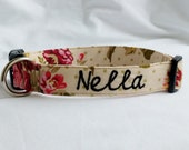 Personalized-Embroidered-Choose Buckle or Martingale Chic Floral-Polka Dot-Dog Collar-Small-Large Breed Dog-1 inch 1.5 -2 inch width