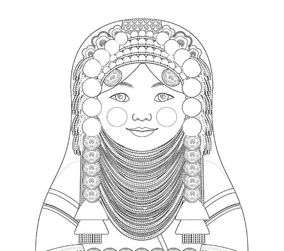 Akha Doll Traditional Dress Coloring Sheet Printable, Matryoshka