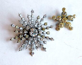 Lot of 2 Vintage Mid Century Modern Atomic Rhinestone Brooches - Sputnik / Space Age Inspired Pins - Silvertone Metal Starburst 1950s