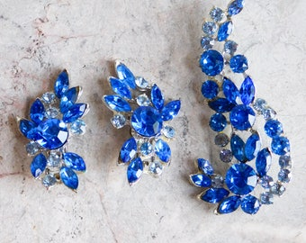 Vintage Mid-Century Blue Rhinestone Brooch and Clip Earring Set - Extra Large Pieces - Two Tones of Blue - 1950s-1960s Pin - Demi-Parure