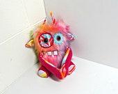 Monster Plush - Handmade Rainbow Plush Monster - OOAK Monster Toy - Faux Fur Monster - Happy Colorful Stuffed Monster - Weird Cute Plush Toy