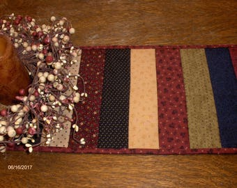 Quilted Tablerunner/ Scrappy Tabletopper/ Handmade / Primitive/ Country Decor / Patchwork / Farmhouse primitives
