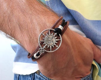 Nautical bracelet, men's bracelet compass, windrose, sea, leather bracelet, silver bracelet, gift for him,
