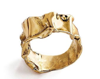 SALE 20% Off - CRUMPLED 14k Yellow Gold Ring for women, Unique Gold Ring, Mens gold band, custom gold ring, italian fine jewelry