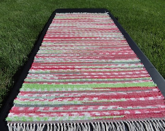 "Red and Green Hand Woven Rag Rug 25"" x 57"""