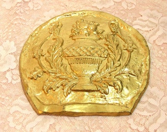 Vintage Gold Wall Plaque Greek Revival Urn With Flowers