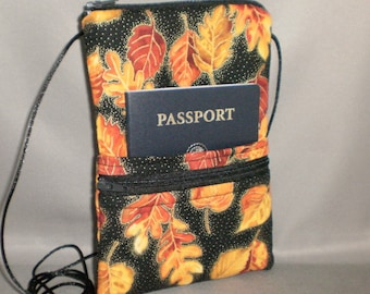Smart Phone Purse - Passport Purse - Sling Bag - Hipster - Wallet on a String - Autumn Leaves