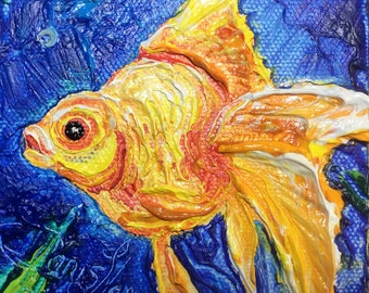 Goldfish 4 by 4 Inch Original Impasto Oil Painting by Paris Wyatt Llanso