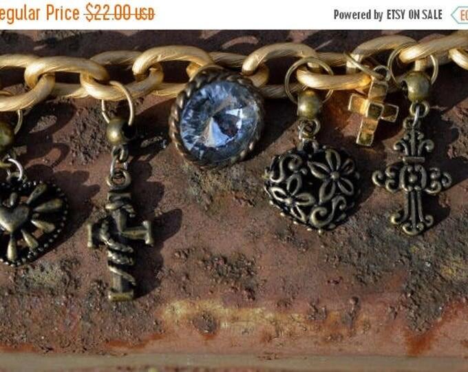 sale Vintage Charm Bracelet,  Gold Bracelet, Steam Punk Bracelet, Charm Bracelet, Heart Bracelet, Cross Bracelet, Goth Bracelet, Gift for He