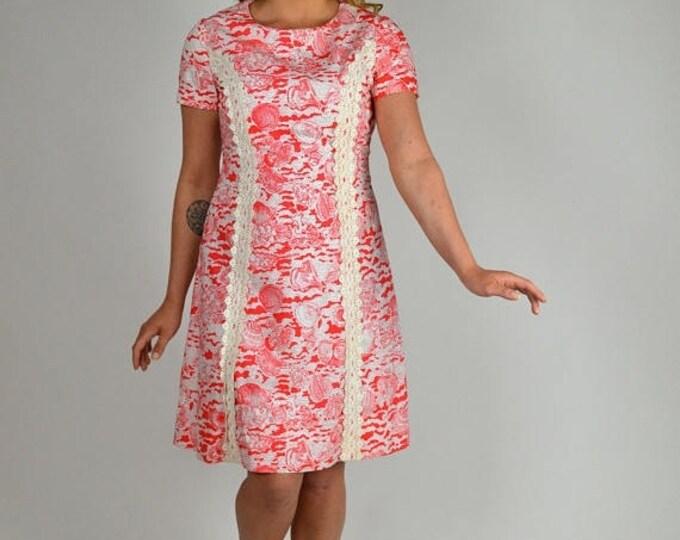 sale Vintage Lilly Style Dress, 70s Dress, Red White Dress, Sheath Dress, Day Dress, Cotton Dress, Beach Print,  1970s Dress