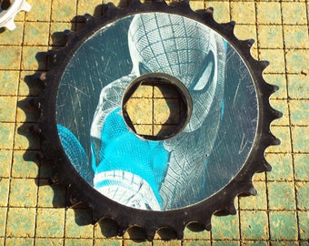 "Bicycle Sprocket, black, 4 7/8"", spiderman, old bike parts, industrial, great for found art metal sculpture, steampunk, gearpunk"