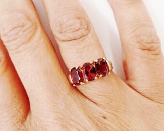 Garnet Ring 10K Yellow Gold Three Oval Gemstone NOS Estate Fine Jewelry January Birthstone