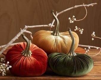 LARGE Scented Velvet Pumpkins, SET of 3: Rust, Mustard, Olive Green