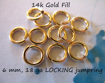 10-100 pcs, 6 mm 18 gauge / 14k Gold Filled LOCKING Jump Rings Jump Locks Jumprings Jumplocks Bulk / OPEN, wholesale findings GFJR6mm solo