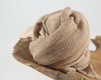 Brown Newborn Swaddling Wrap Photo Prop, Tan Stretch Baby Boy Wrap Photography Prop, Knit Newborn Wrap, Baby Photography Props, Sparrow Lux