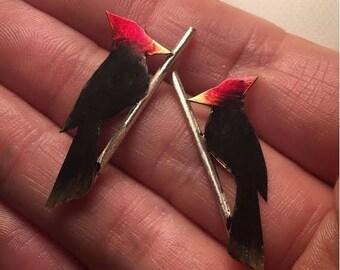 End of Summer SALE Woodpecker on a twig - post earrings