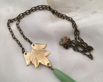 End of Summer SALE Lotus Blossom Necklace with Sea Glass Drop  - Copper, Bronze or Sterling
