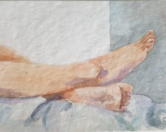 feet painting ACEO watercolor  figure art