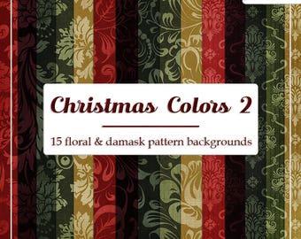 DECEMBER SALE - CU4CU Digital Papers | Christmas Colors 2 Damask & Floral Pattern Papers | Digital Designer Tool