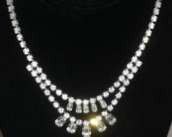 ON SALE Vintage Rhinestone Necklace Emerald Shape