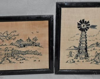 Antique Embroidery Farmhouse Windmill Pictures Framed 11 x 9