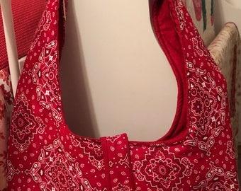 Red Bandanna Print hobo bag
