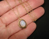 Opal Locket Necklace Fire Opal Harlequin Necklace October Birthstone Tiny Brass Locket  Fire Opal Gold Chain Opal Jewelry