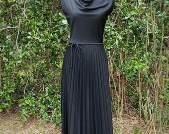 SALE 70s Black Pleated Maxi Dress size Small Strait Lane Draped Neck