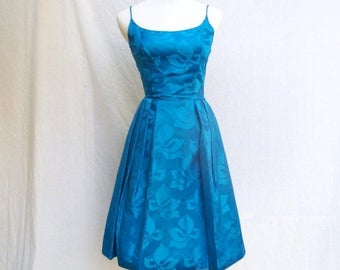 SALE SALE 50s Royal Blue Cocktail Dress with Bolero size Extra Small Shimmery Floral