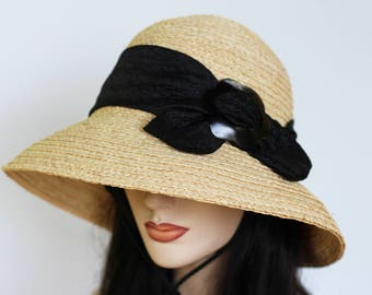 Floating hat Raffia Straw hat Boating hat convertible hat with wide brim and chinstrap and scarf trim