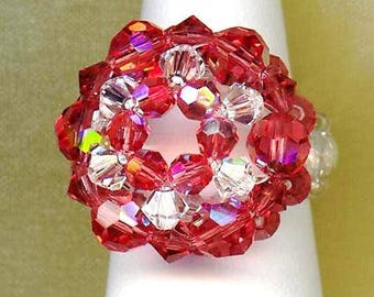 Ring ✿OURSIN✿ Padparadscha crystal clear Swarovski R025
