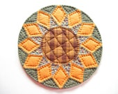 Rustic Home Decor, Farmhouse Decor, Quilted Candle Mat, Quilted Table Topper, Round Table Quilt, Table Mat, Primitive Country Home Decor