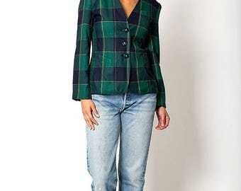 40% OFF CLEARANCE SALE The Vintage Green and Blue Plaid Preppy Blazer Jacket