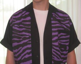 Men's Rockabilly Shirt Jac Purple Zebra
