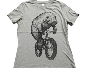 Manatee on a Bike- Womens relaxed fit T Shirt, Ladies Tee, Blended Tee, Handmade graphic tee, sizes s-xL