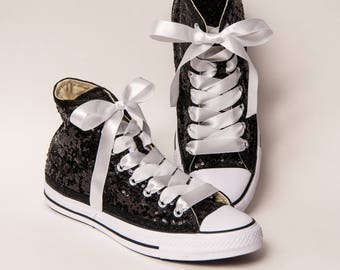 Tiny Sequin - Starlight Black and White Hi Top Converse Sneakers Canvas Shoes with White Ribbon Laces