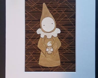 "Coffee Poppet - Fabric Art Original - ""Latte""    A  Poppety Collaboration"
