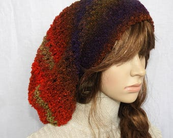 Large Slouchy Crochet Hat Beanie Rasta Tam multi colour Crochet beanie hat