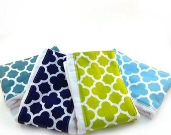 SALE Burp Cloth / Quatrefoil  Geometric Burp Cloths - Your Choice- Set of 4, Baby Clothes // Cotton Diaper Burp Cloths // Boys or Girl Burp