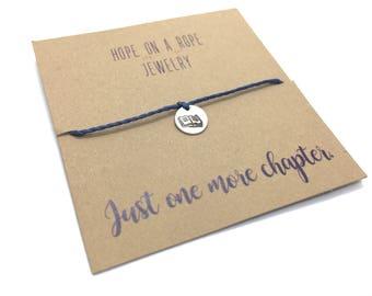 Book Lover Bracelet - Sterling Silver Book Bracelet - Reader Bracelet - Open Book - One More Chapter - Gift for the Book Lover - Book Charm